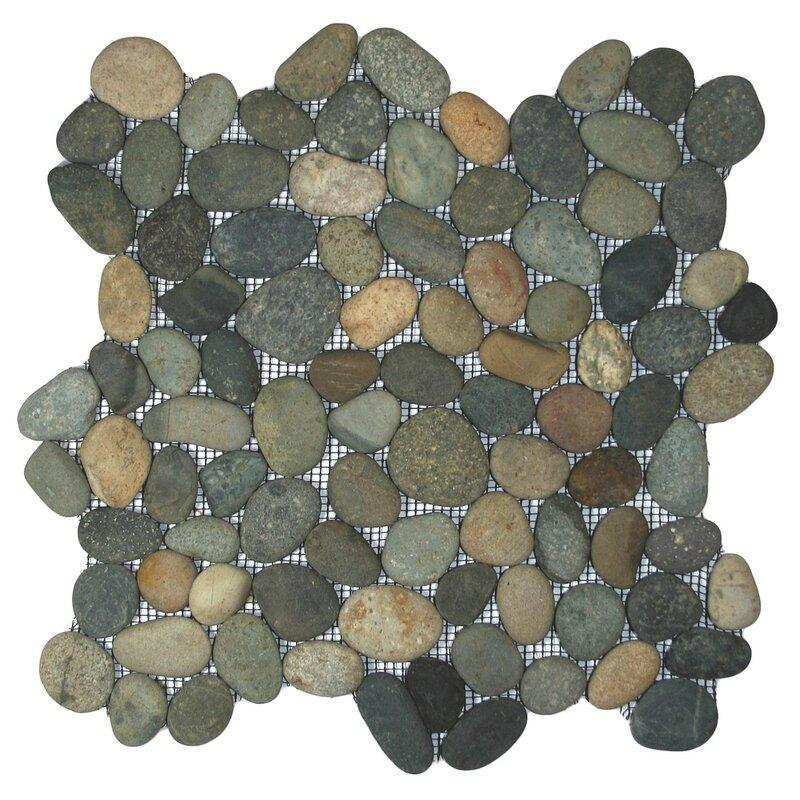 Cnktile Nile Random Sized Natural Stone Mosaic Tile In Green Gray Reviews Wayfair