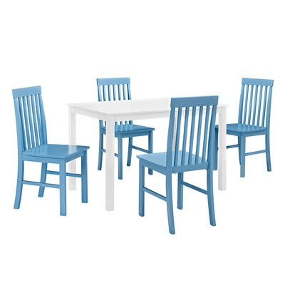 Cienna 5 Piece Dining Set Chair Color: Powder Blue by Beachcrest Home