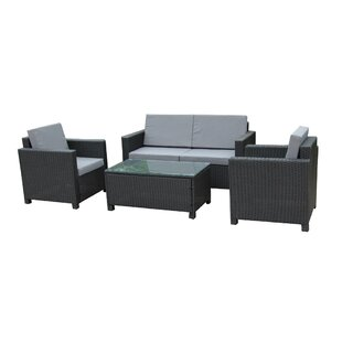 Cross Wicker Indoor/Outdoor Comfortable 4 Piece Rattan Sofa Seating Group with Cushions