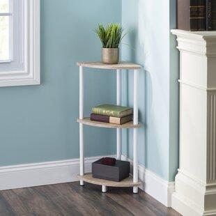 Blaze Pine Wood 3 Tier Arc Corner Bookcase by Rebrilliant No Copoun