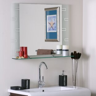 Latitude Run Wyona Frameless Wall Mirror with Shelf