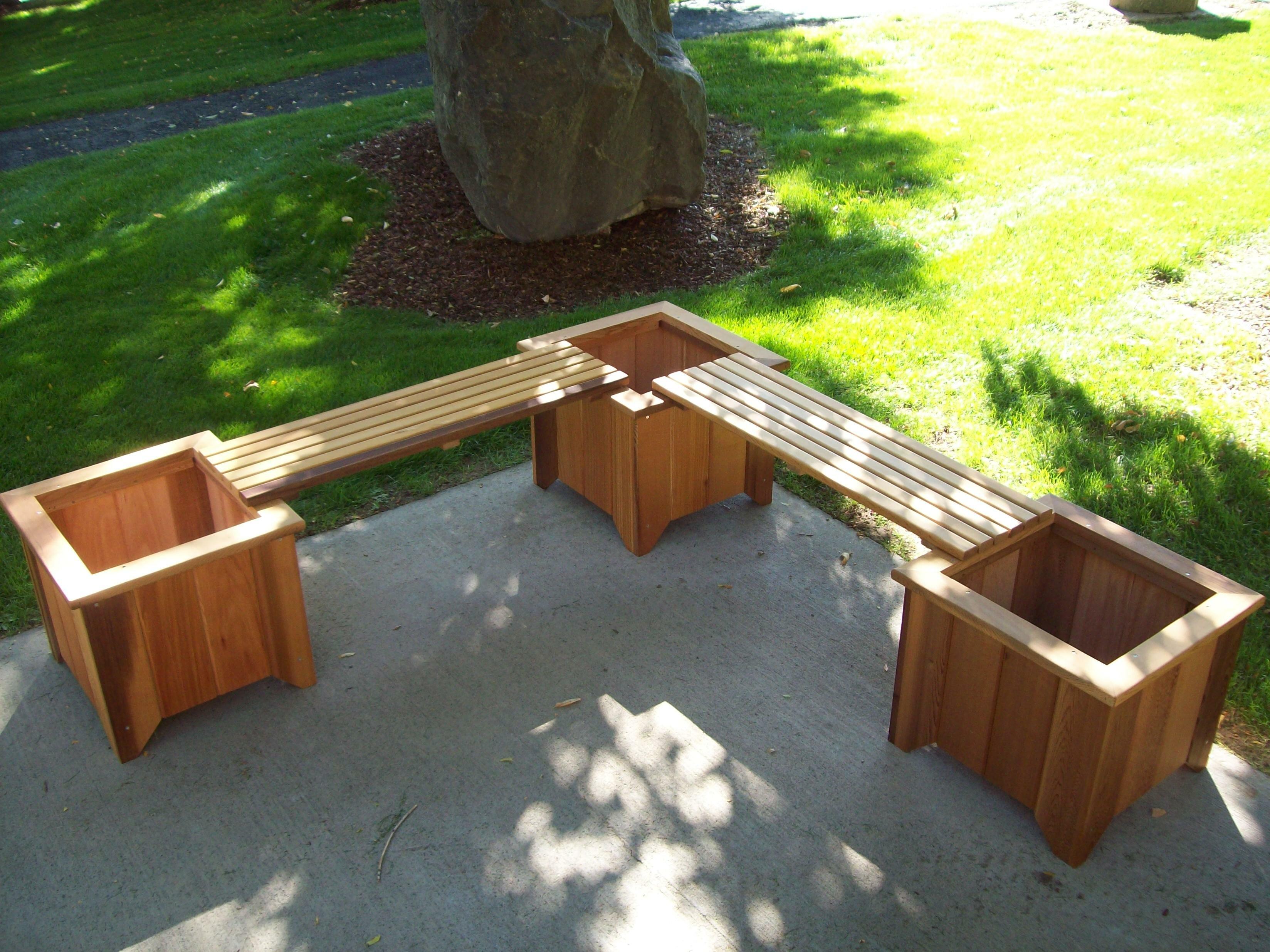 Brashear Wood Planter Bench