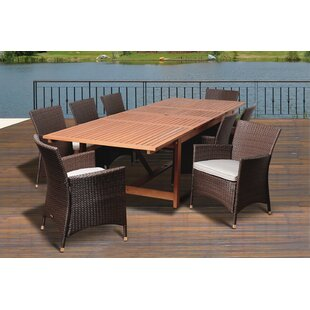 Rosecliff Heights Ashford 9 Piece Eucalyptus Dining Set With Cushions