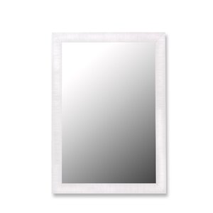 Glossy White Petite Ribbed Wall Mirror