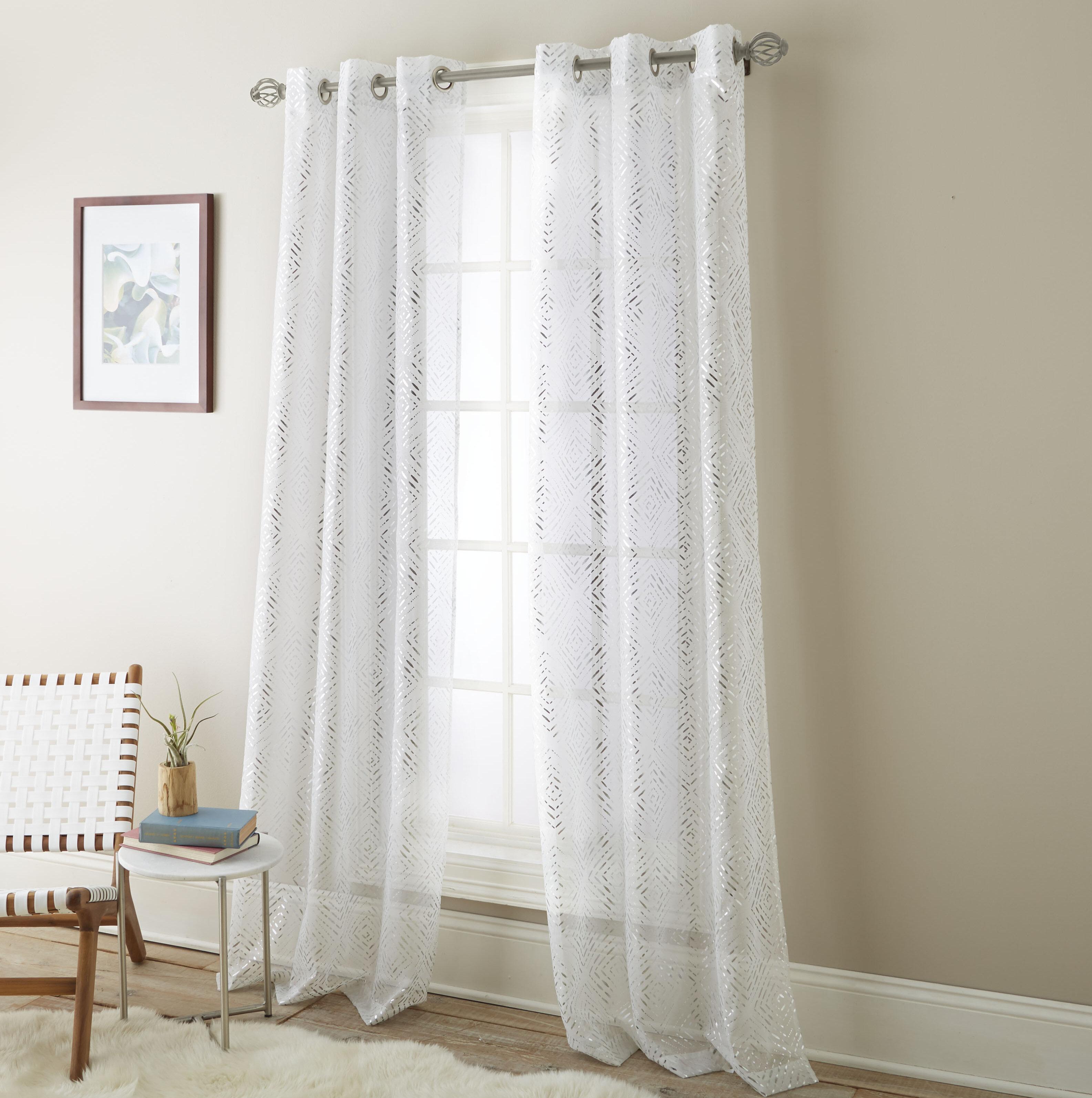 Bungalow Rose Eves Solid Sheer Grommet Curtain Panels Reviews Wayfair