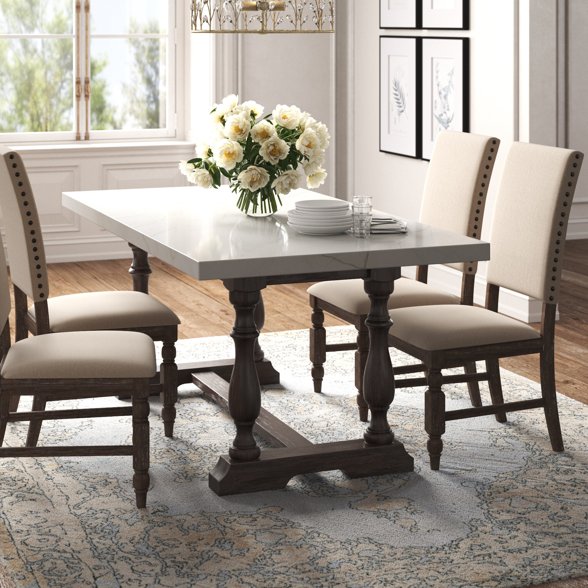 Marble Trestle Kitchen Dining Tables You Ll Love In 2021 Wayfair