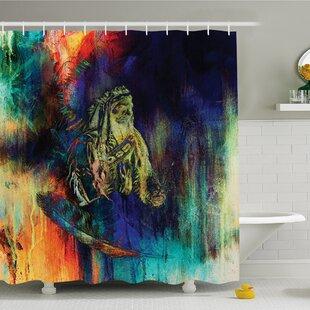 Grungy Futuristic Design of Native American Foreman Bull with Motley Effects Shower Curtain Set
