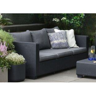 Ivy Bronx Halloran Patio Sofa with Sunbrella Cushions
