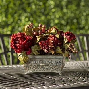 Peony And Hydrangea Silk Centerpiece In Pot