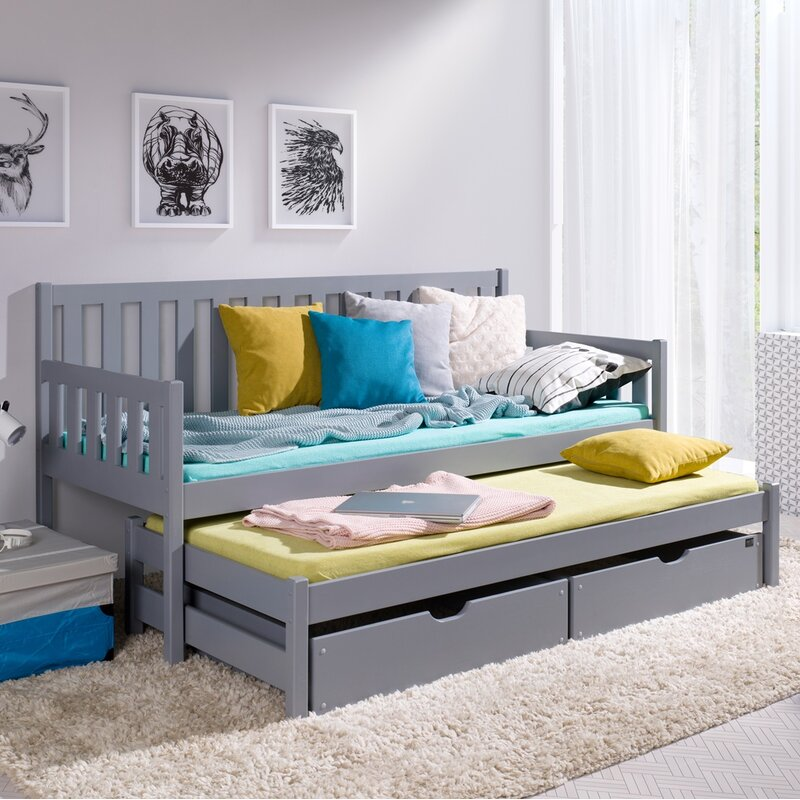 Metro Lane Lester Daybed With Trundle And Mattress Wayfair Co Uk