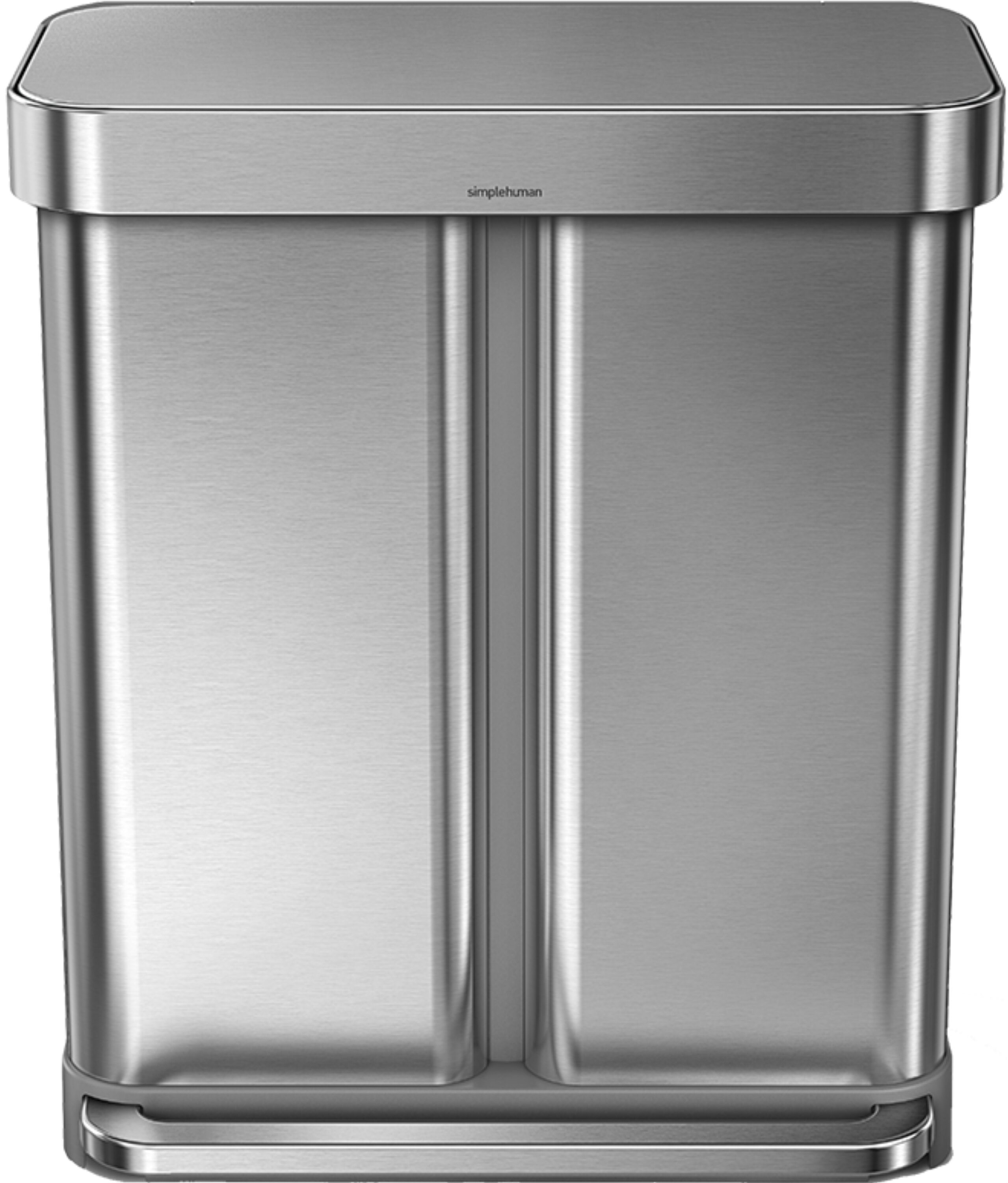 15 Gallon Dual Compartment Rectangular Step Trash Can with Liner Pocket,  Recycler, Stainless Steel
