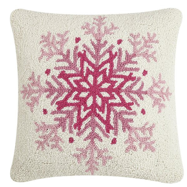 The Holiday Aisle Refugio Snowflake Hook Wool Throw Pillow Wayfair