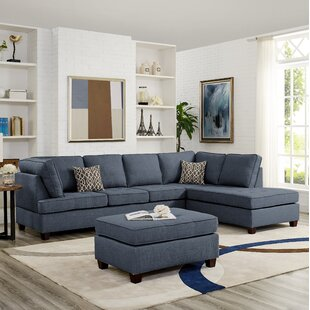 Buff Reversible Sectional with Ottoman