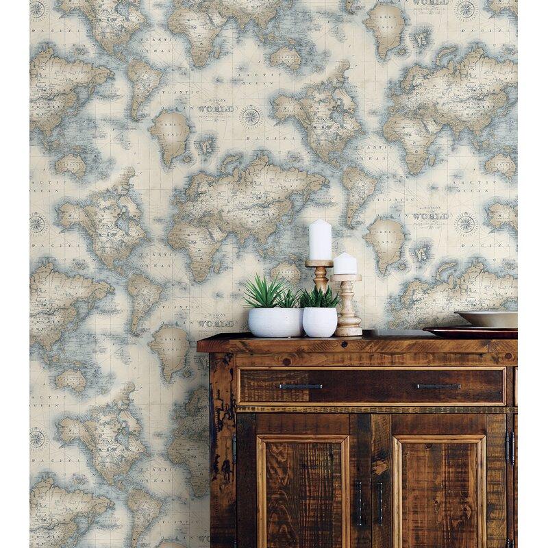 World Menagerie Shyam 33 X 20 5 World Map Wallpaper Roll