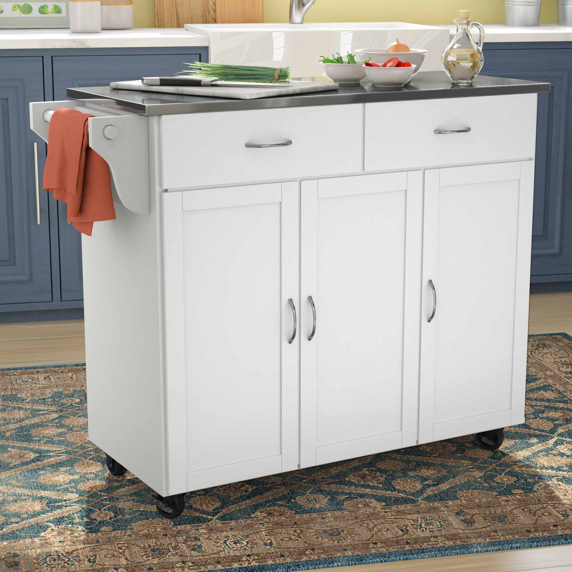 Red Barrel Studio Garrettsville Kitchen Island With Stainless Steel Top Reviews Wayfair