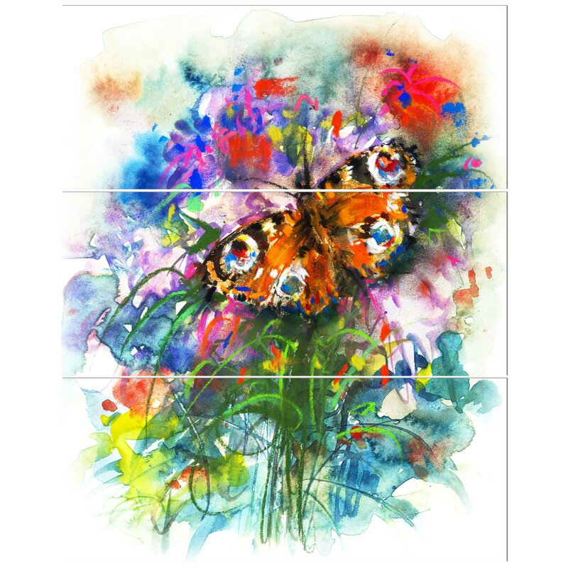 East Urban Home Butterfly Peacock Oil Painting Print Multi Piece Image On Canvas Wayfair