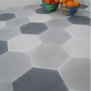 Solid Mixed Hex 8 X Cement Field Tile In Gray