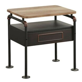 Best Reviews Bramlett Industrial Pipe Detailed 1 Drawer Nightstand by Williston Forge