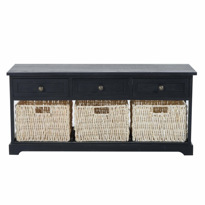 Coen 3 Drawer 3 Basket Wood Storage Bench