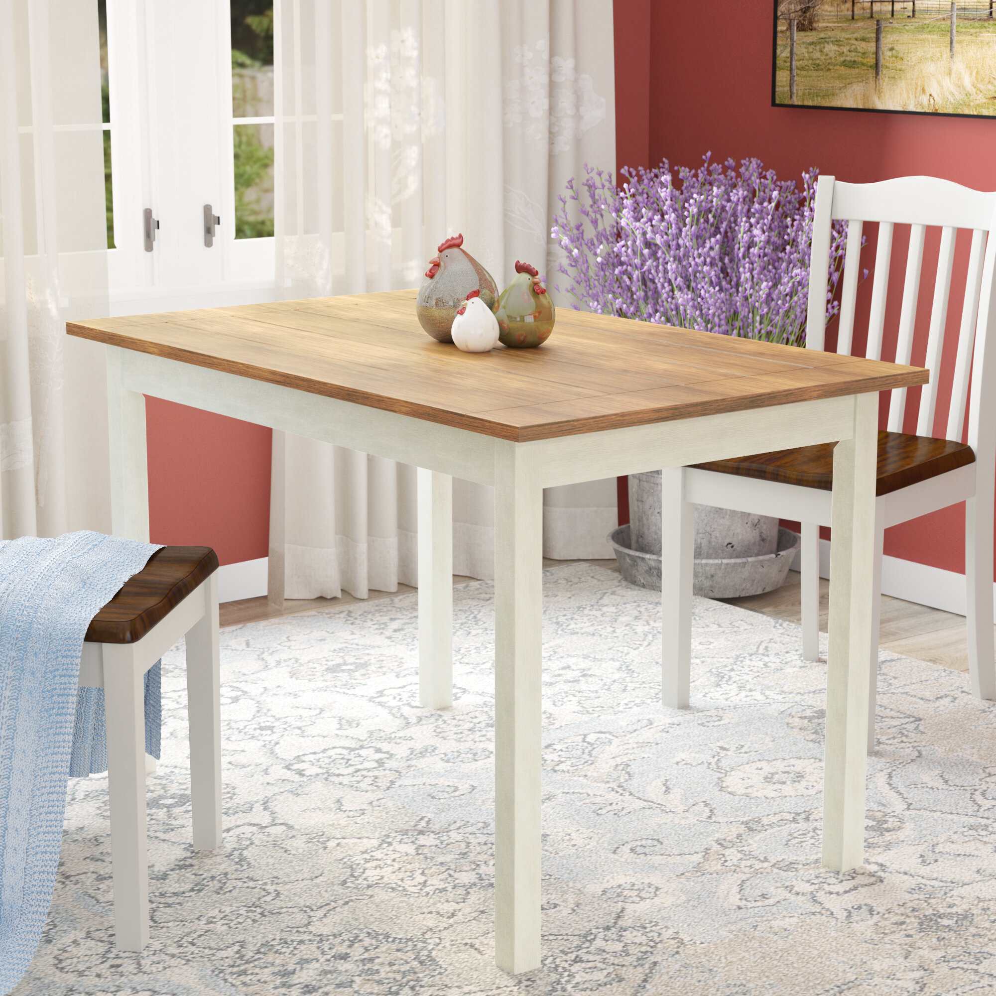 August Grove Reagan Pine Solid Wood Dining Table Reviews Wayfair