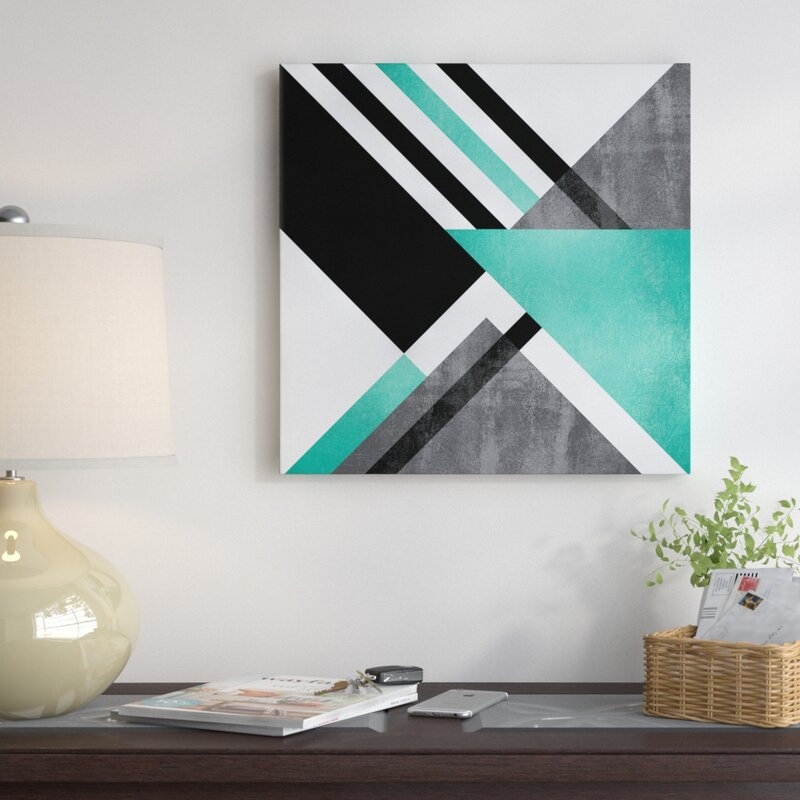 Geometric Wall Decorations - 'Foldings' Graphic Art on Wrapped Canvas