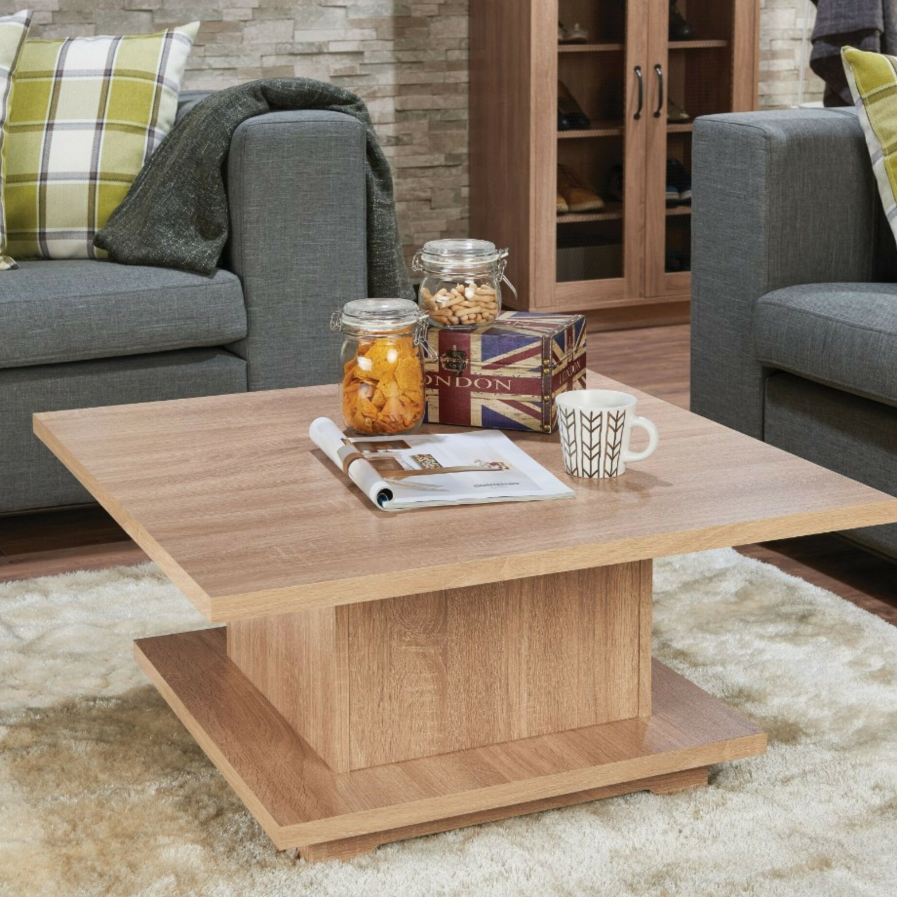 - Ebern Designs Dossett Contemporary Square Wooden Coffee Table With Storage  Wayfair
