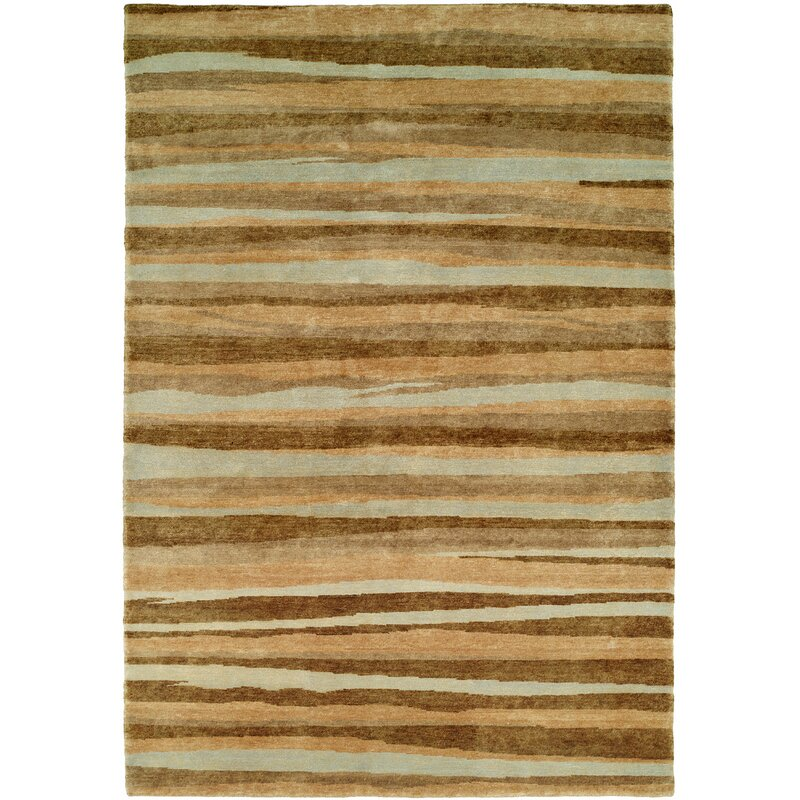 Wildon Home Striped Hand Knotted Wool Brown Gray Area Rug Wayfair