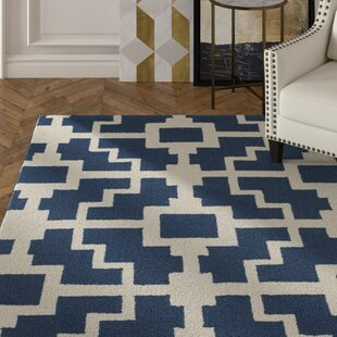 Dalton Hand-Hooked Navy/Ivory Indoor/Outdoor Area Rug