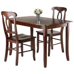 Fetter 3 Piece Solid Wood Dining Set Red Barrel Studio