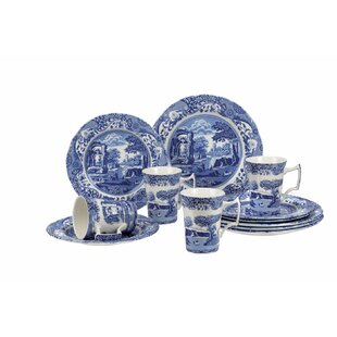 Blue Italian 12 Piece Dinnerware Set Service for 4  sc 1 st  Wayfair : blue and white plate set - pezcame.com