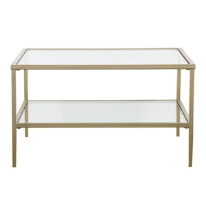 Delightful Fallis Square Metal/Glass Open Shelf Coffee Table