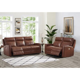 Amasia 2 Piece Leather Reclining Living Room Set by Winston Porter SKU:CA823190 Details