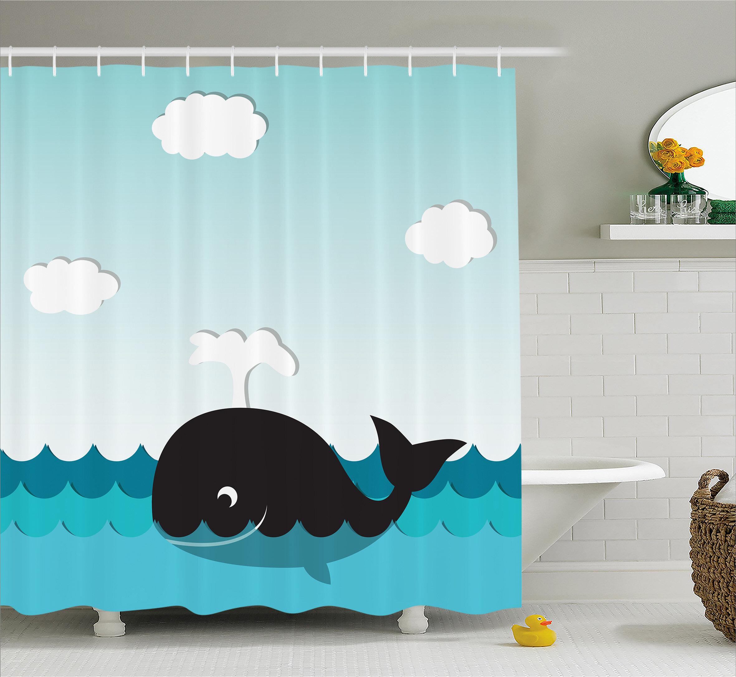 Lottie Whale In Wavy Ocean Shower Curtain Hooks