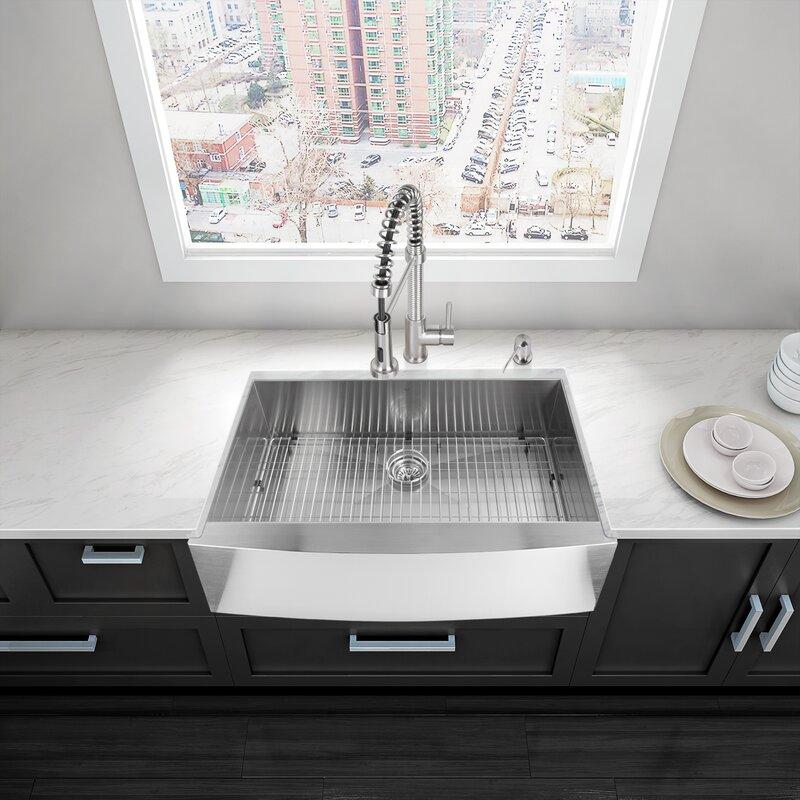36   x 22   farmhouse kitchen sink with     vigo 36   x 22   farmhouse kitchen sink with sink grid  u0026 reviews      rh   wayfair com