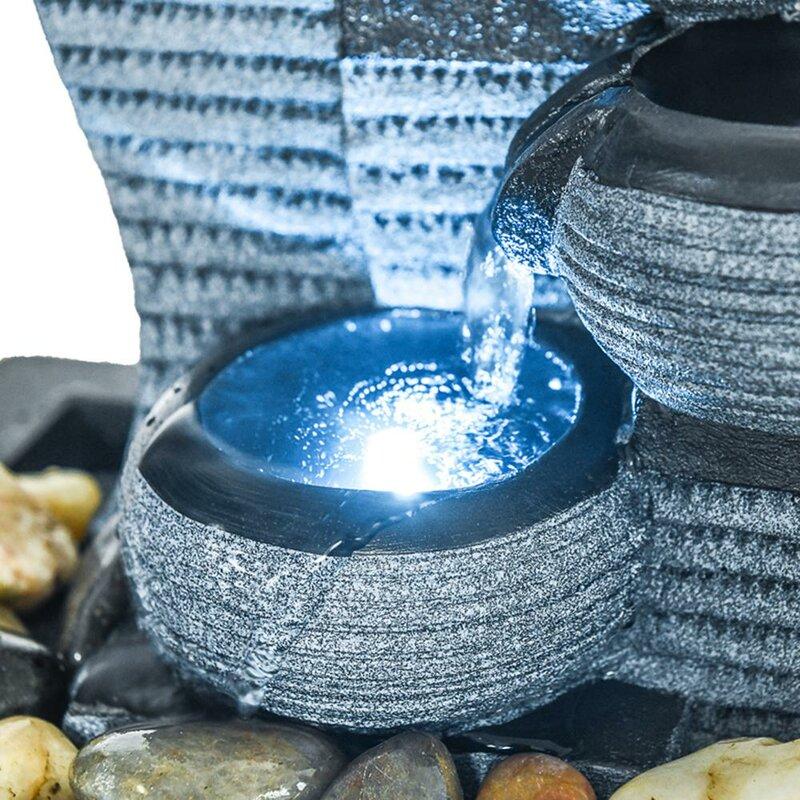 Wature Resin Desktop Waterfall Fountain Decor Indoor Portable Tabletop Fountain With Light Reviews Wayfair