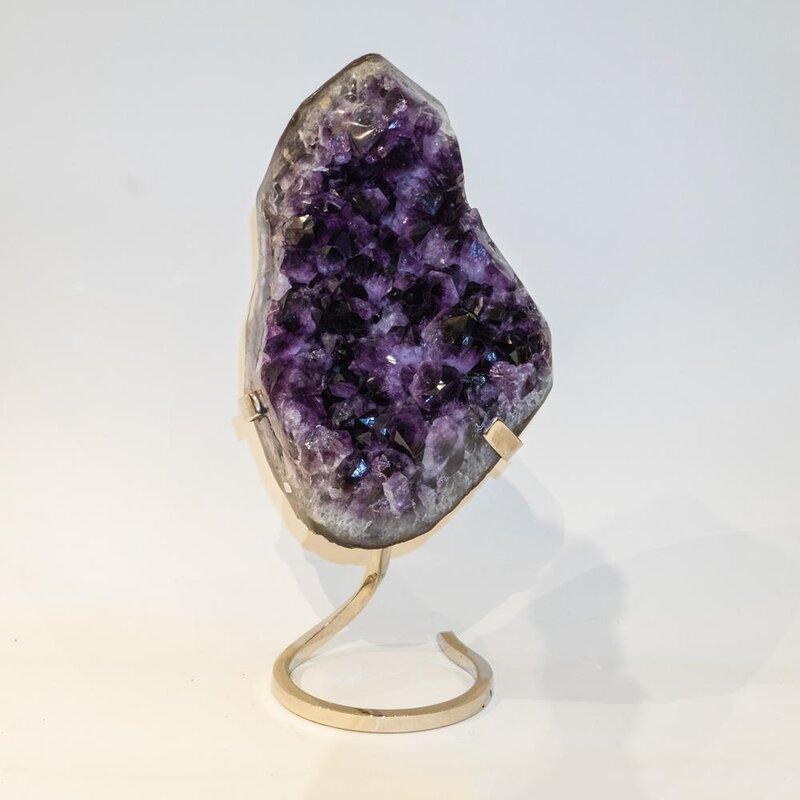 Astro Gallery Of Gems Genuine Amethyst Cluster On Metal Stand Sculpture Wayfair