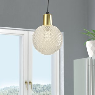 Brackman Etched Glass 1-Light Globe Pendant by Wrought Studio