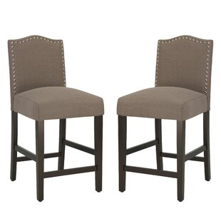Nickols Upholstered 25.5 Bar Stool (Set of 2) by Charlton Home
