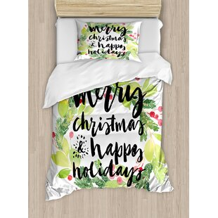 christmas new year and happy holiday rustic wreath berries and evergreen image duvet cover set - Christmas Bedding Holiday Bedding