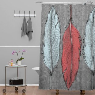 Wesley Bird Feathered Single Shower Curtain by Deny Designs Best #1