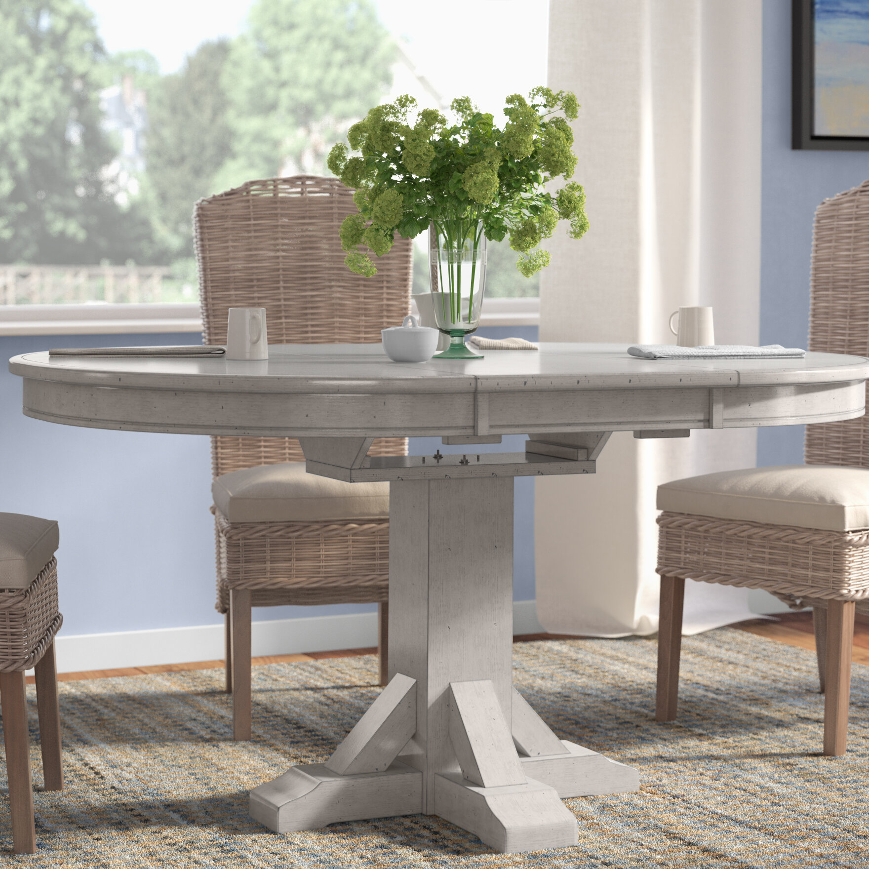 Rosecliff heights rutledge pedestal extendable dining table reviews wayfair