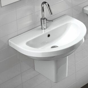 Best Price Pro Vitreous China 25 Wall Mount Bathroom Sink with Overflow By Bissonnet