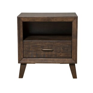 George Oliver Gill Rubberwood 1 Drawer Nightstand