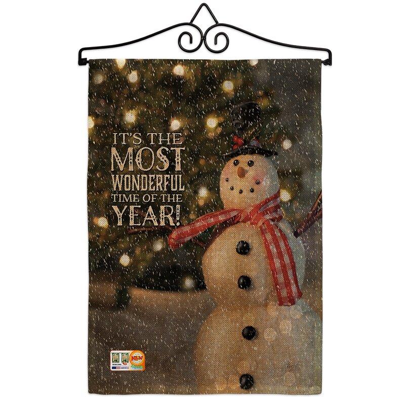 Breeze Decor Most Wonderful Time Snowman Winter 2 Sided Burlap 19 X 13 In Garden Flag Wayfair