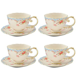 Hemby Rose Porcelain 7 oz. Tea Cup and Saucer (Set of 4)