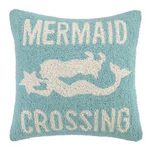 Mermaid Crossing Hook Wool Throw Pillow