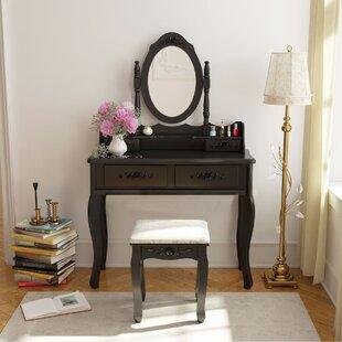 Astoria Grand Willowbrook Makeup Vanity Set with Mirror