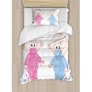 Gender Reveal Decorations Cheerful with Bunny Pacifiers Twins Duvet Set by Ambesonne