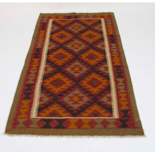 Handmade Kilim Wool Red/Orange/Black Rug by Parwis