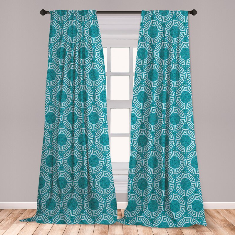 East Urban Home Ambesonne Aqua Curtains Greek Meander Mosaic Pattern Classical Geometrical Ornament Architecture Window Treatments 2 Panel Set For Living Room Bedroom Decor 56 X 63 Blue Green White Wayfair